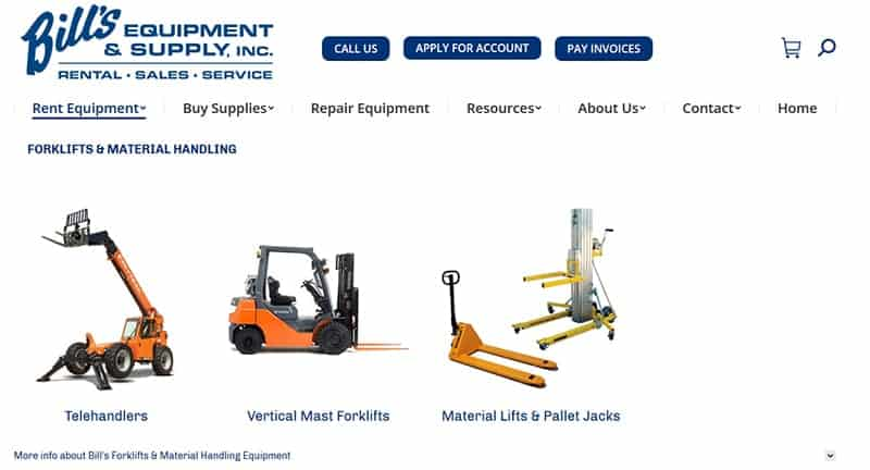 Bill's Equipment & Supply, Inc. Category Page
