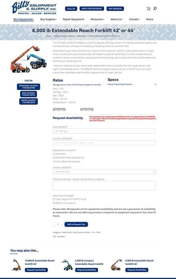 Bill's Equipment & Supply, Inc. Equipment Rental Detail