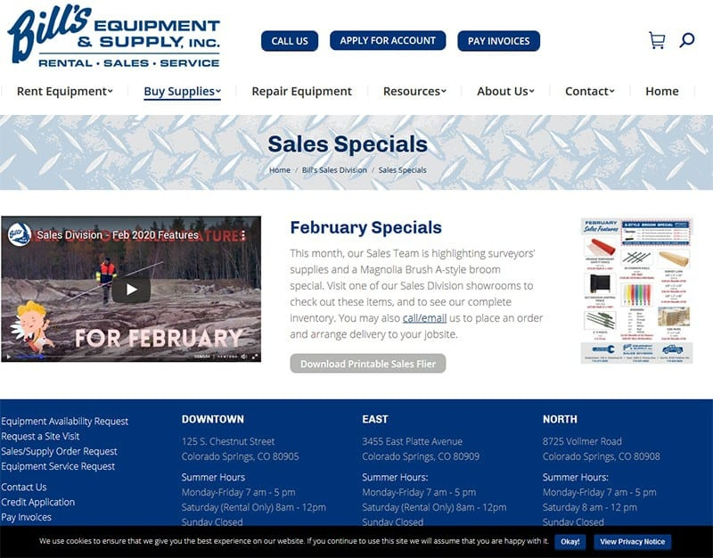 Bill's Equipment & Supply, Inc. Specials