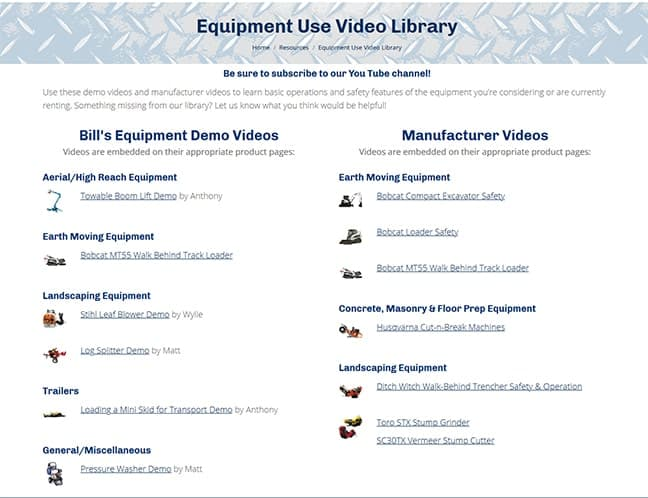 Bill's Equipment & Supply, Inc. Video Library