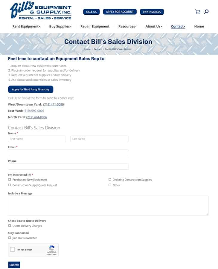 Bill's Equipment & Supply, Inc. Custom Forms