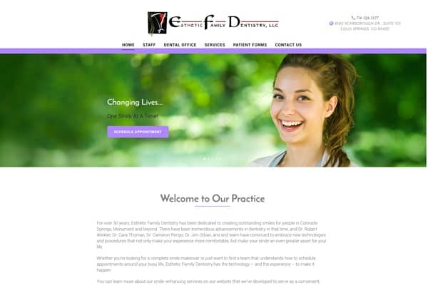 Esthetic Family Dentistry WordPress Development by Brandesigns Web Solutions