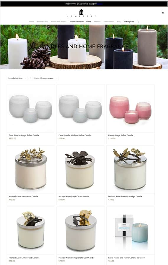 Homefest Decor' Web Store Category Page
