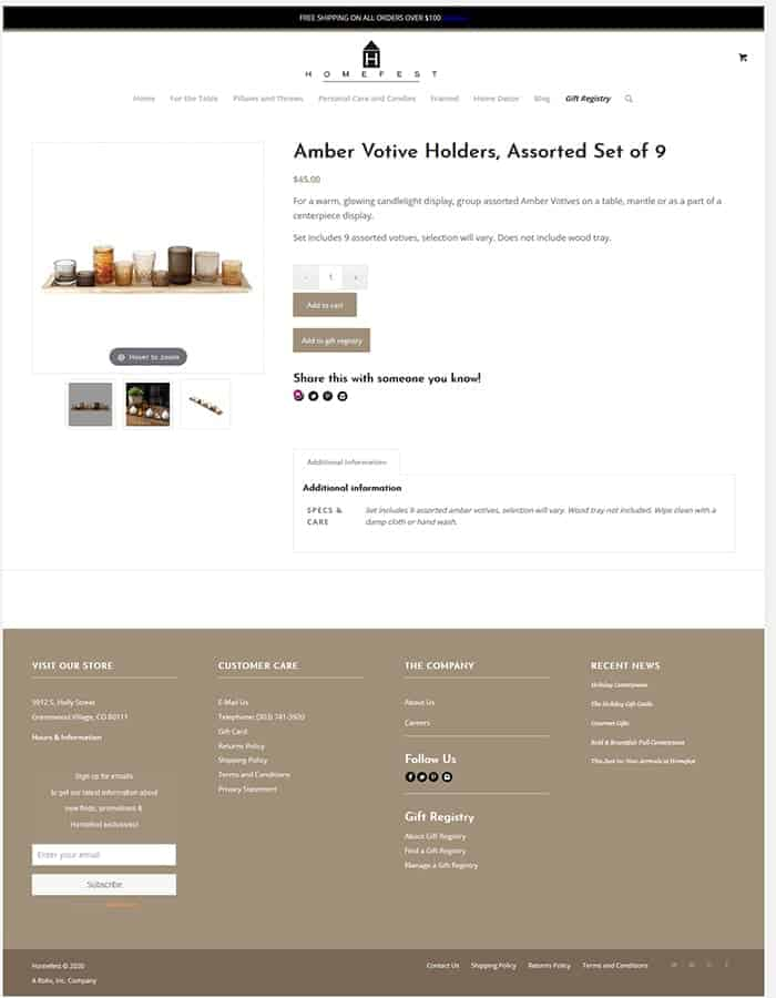 Homefest Decor' Product Page