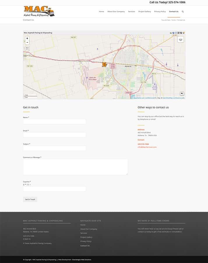 Mac Asphalt Paving Contact Page