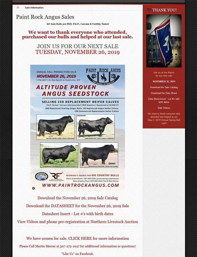 Paint Rock Angus Sale Page