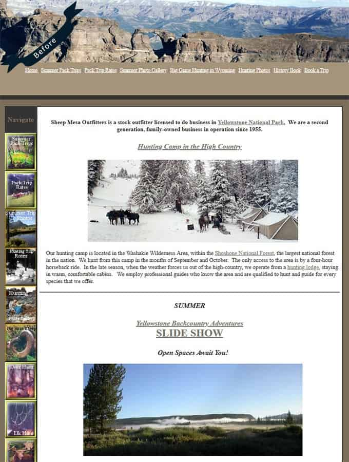 Previous HTML Website -Sheep Mesa Outfitters